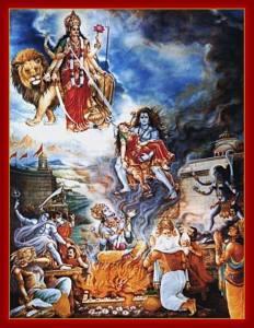Shiva nimmt den leblosen Körper Satis auf und zerstört Dakshas Opferfeuer; Künstler/Artist: unbekannt/unknown.