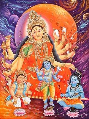 Adi-Parashakti und die Trimurti (Dreiheit) von Brahma, Vishnu und Shiva als Ihre Kinder. Künstler/Artist: unbekannt;