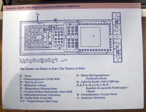 Grundriss des Horus-Tempels in Edfu, Ägypten. Schautafel an einer Miniatur-Rekonstruktion im Ägyptischen Museum Berlin. Bild: © Siat
